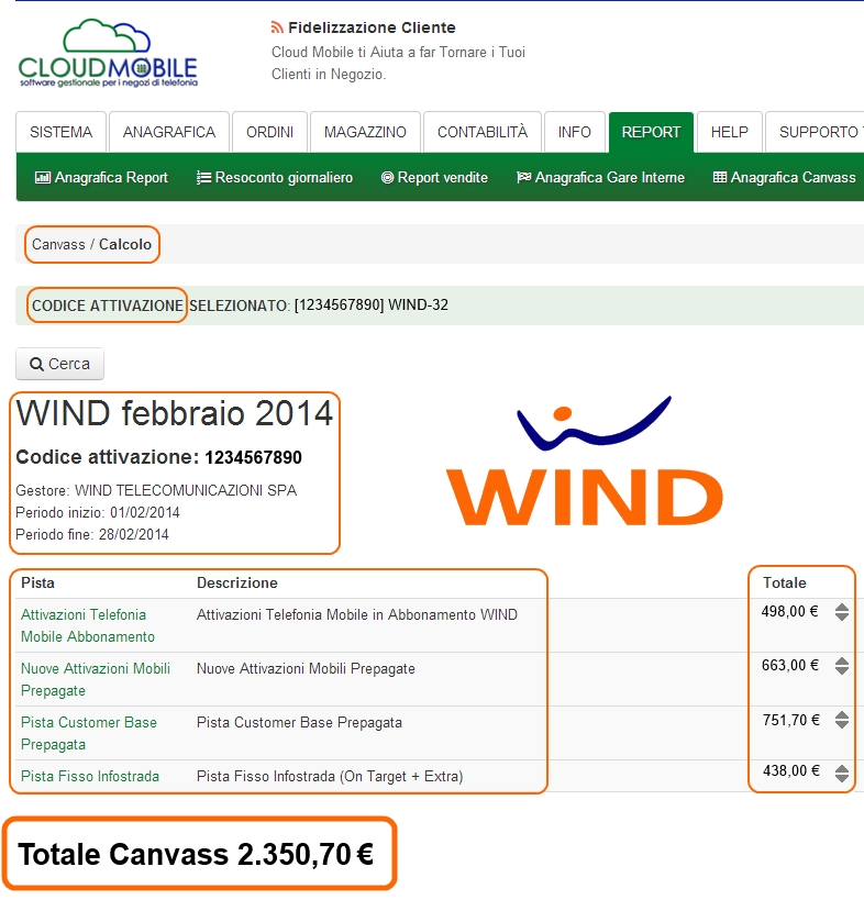 canvass wind calcolo compenso pista gara