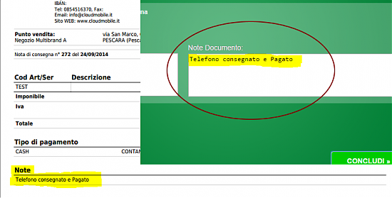 note documento, nota fattura